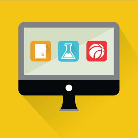 educational: educational equipment on monitor Illustration