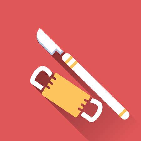 quirurgico: cuchilla quir�rgica y la bandeja
