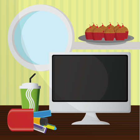 on the table: workstation table Illustration