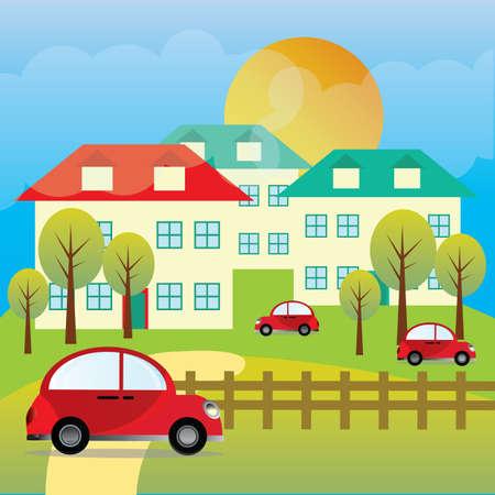 houses: farm houses Illustration
