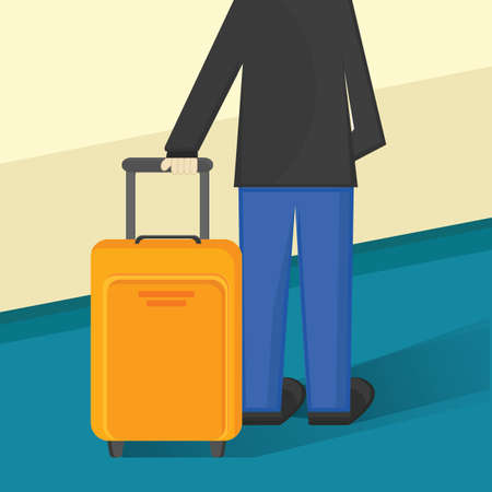 getaways: man with suitcase Illustration