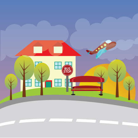 bus stop: plane flying near a house and bus stop Illustration