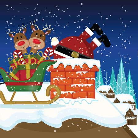 santa stuck in chimney Иллюстрация