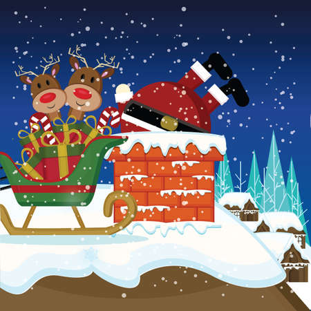 x mas background: santa stuck in chimney Illustration