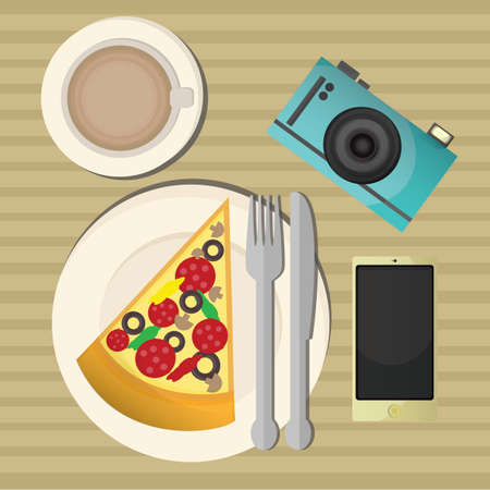 plate camera: pizza with coffee