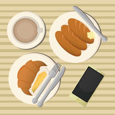 junkfood: breakfast table Illustration