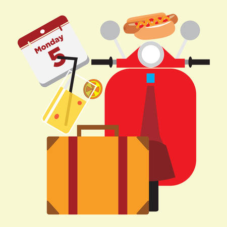 getaways: travel items Illustration