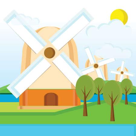 molinos de viento: molinos de viento netherlands Vectores