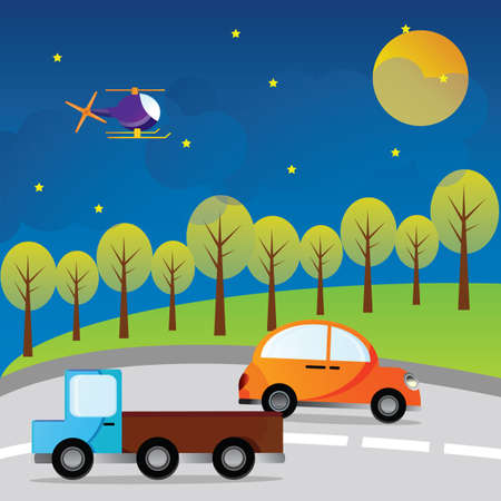 airways: car, truck and helicopter Illustration