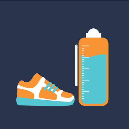 tumbler: sports bottle and running shoes