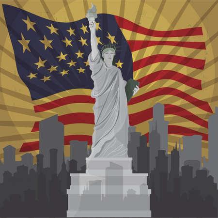 liberty: statue of liberty usa flag