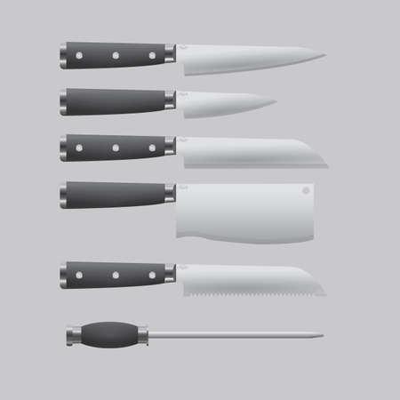 sharpening: kitchen knives set