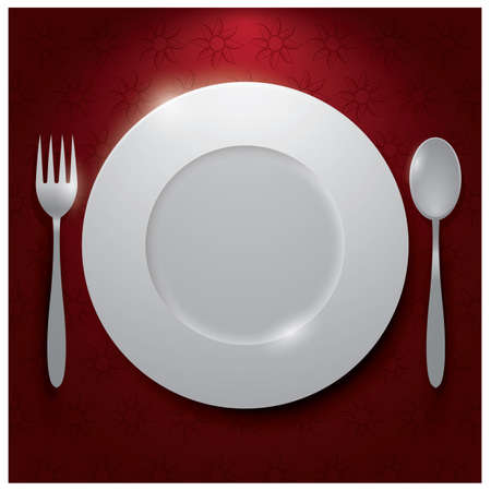 A plate with a fork and spoon Ilustracja