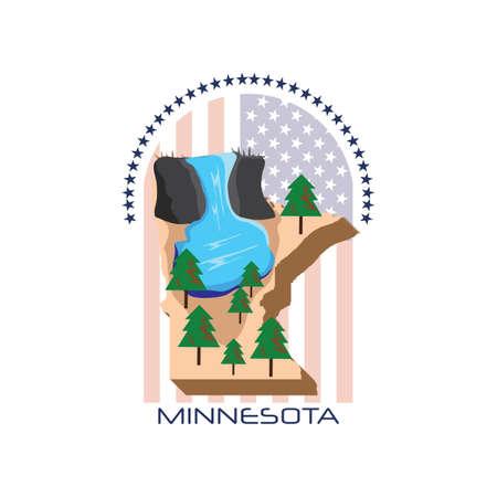 portage: map of minnesota state Illustration
