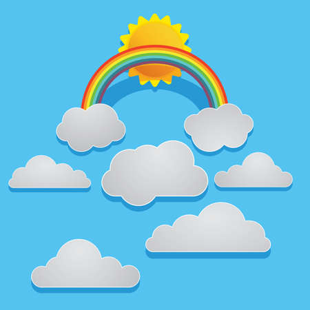 cut outs: rainbow in sky Illustration