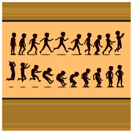 bends: silhouette of boy running and jumping