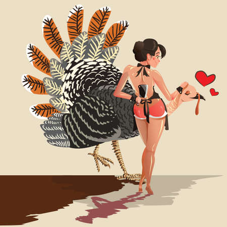 turkey bird: thanksgiving woman holding turkey bird and meat knife Illustration