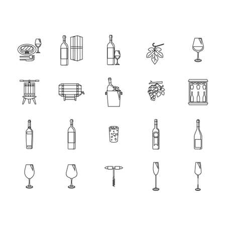 cork screw: wine icon set Illustration