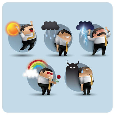 thundering: collection of man in different emotions Illustration
