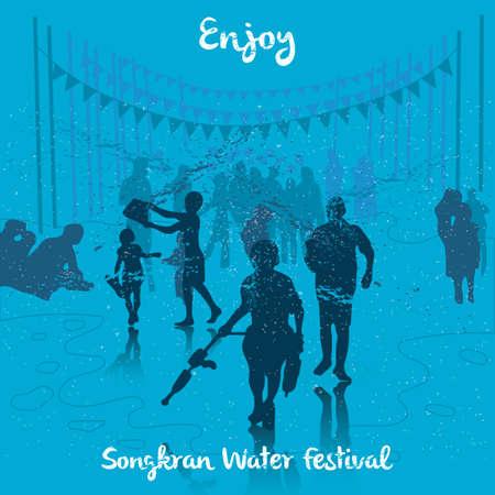 songkran water festival background design