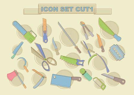 cutting tools: various cutting tools Illustration