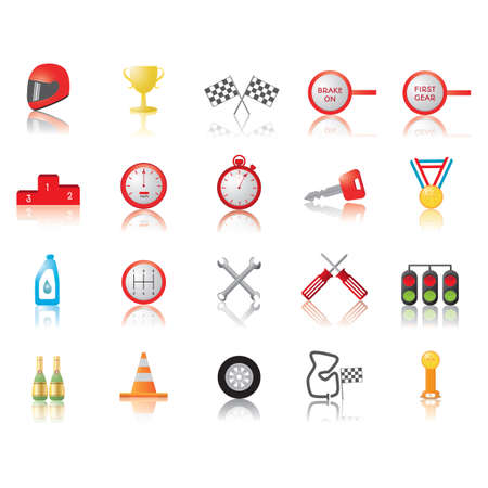crossed checkered flags: collection of motor race icons