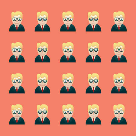 wry: businessman with various facial expressions