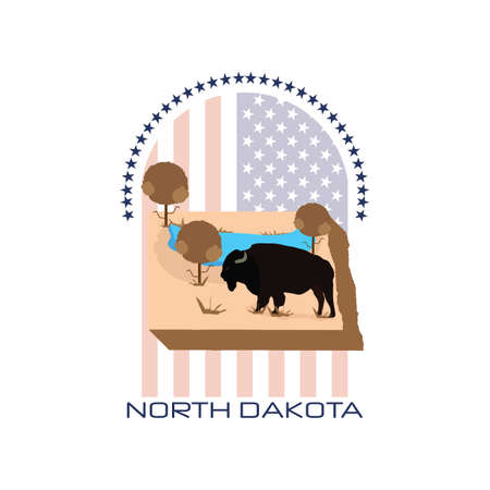 dakota: map of north dakota state Illustration