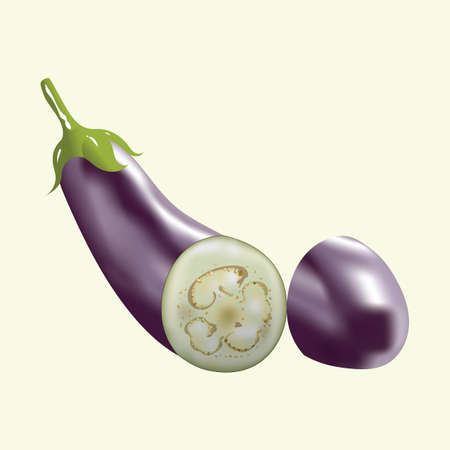 half: eggplant cut into half