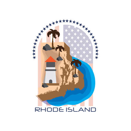 island state: map of rhode island state Illustration