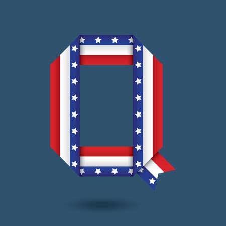 q: usa ribbon alphabet q Illustration