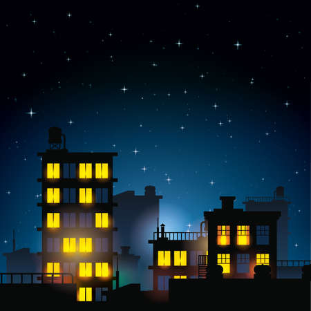 roof top: buildings at night Illustration