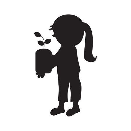 potted plant: silhouette of girl holding potted plant