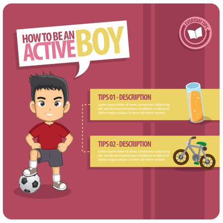 active: infographic of an active boy