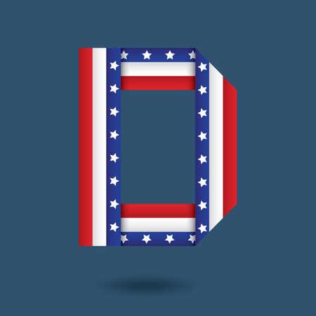 d: usa ribbon alphabet d Illustration