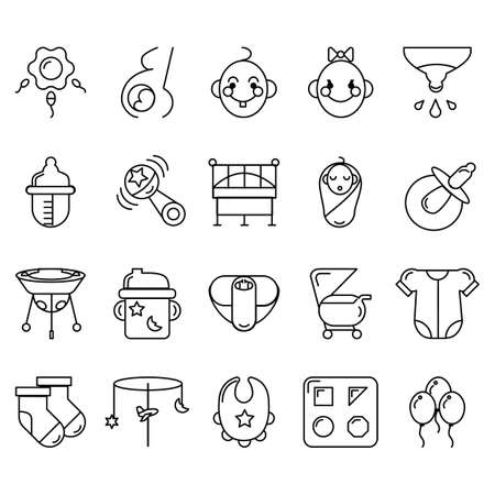 hanging woman: baby icon set