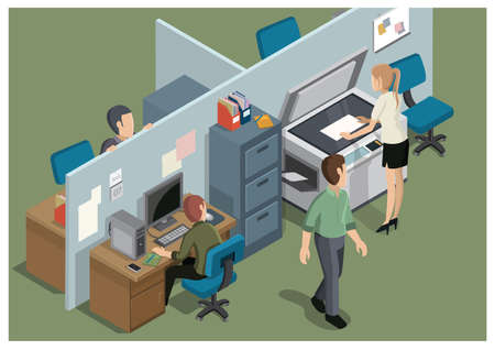 xerox: office workplace Illustration