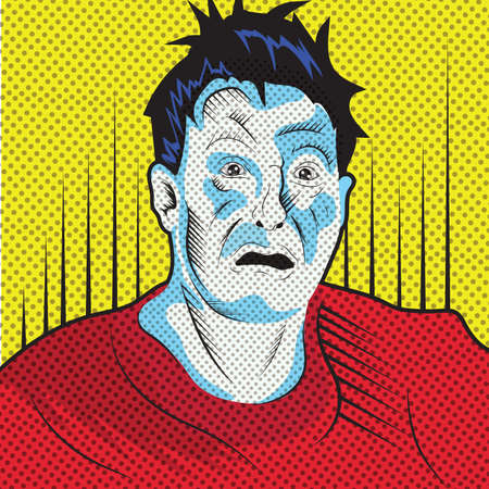 shocked man: man with shocked expression Illustration