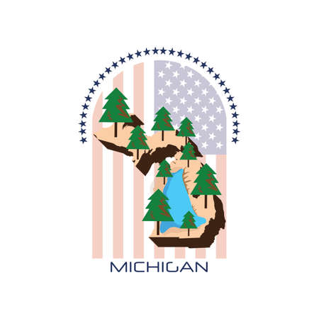 great lakes: map of michigan state Illustration