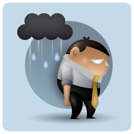 tired man: tired man with cloud and rain Illustration