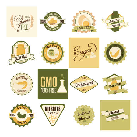 soy free: set of label icons