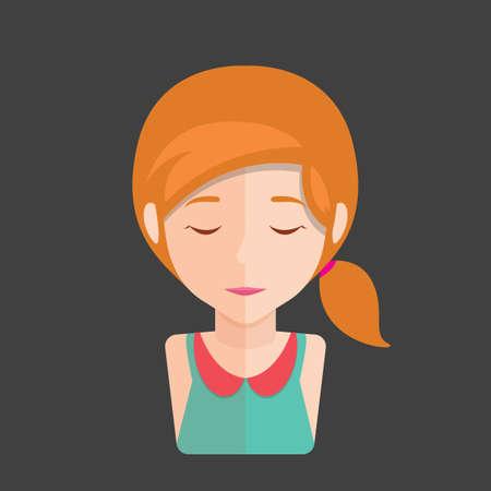 closed eyes: girl with closed eyes Illustration