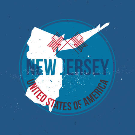 new jersey: map of new jersey state label