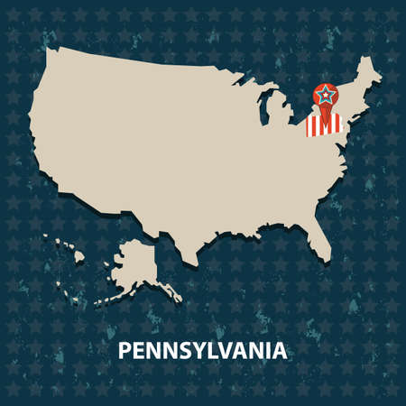 Pennsylvania State Map Stock Vector Illustration And Royalty - Where is pennsylvania on a us map