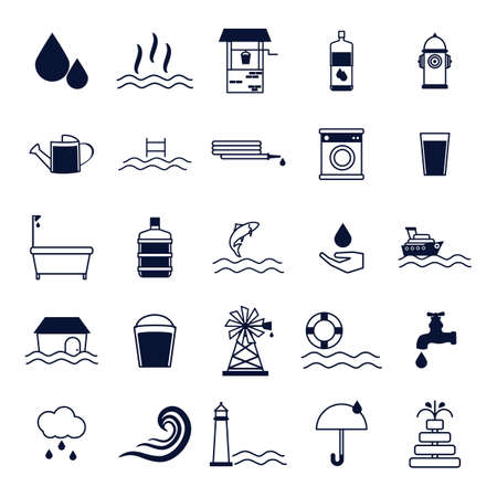 swimming pool home: water related icons set