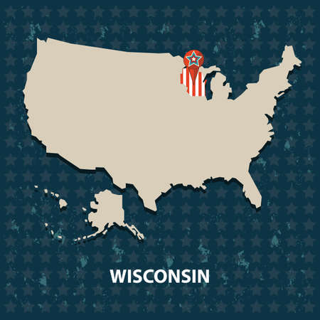 wisconsin: wisconsin state on the map of usa