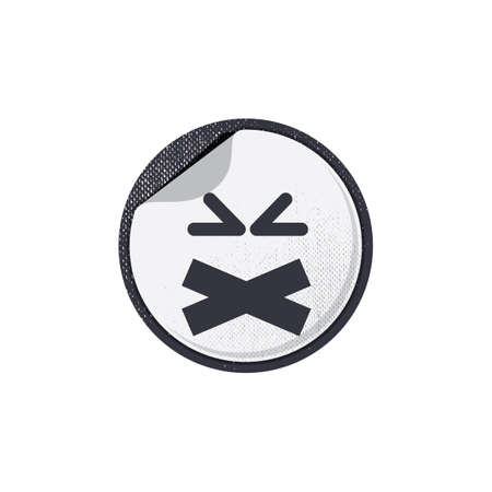 taped: emoticon with taped mouth Illustration