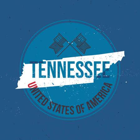 tennesse: mapa de la etiqueta del estado de Tennessee