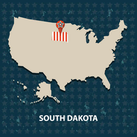 south dakota: south dakota state on the map of usa