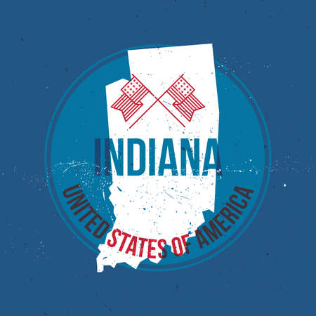 indiana: map of indiana state label Illustration